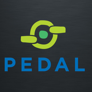 The logo for PEDAL early intervention. A stylised wheel and pedal image in lime green with a grass green dot in the centre. The word PEDAL underneath in blue. On a dark grey background