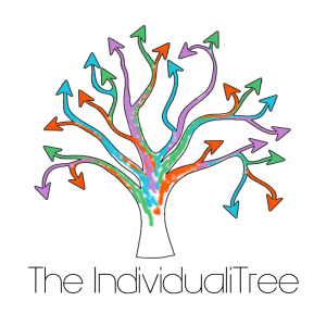 Image is a line drawing of a tree without leaves. There are multiple branches and at the end of each branch is an arrow. Each branch is a different one of 5 colours, and kind of blend into each other in places. The words 'The IndividualiTree' in a very fine dark gray font are underneath the tree.
